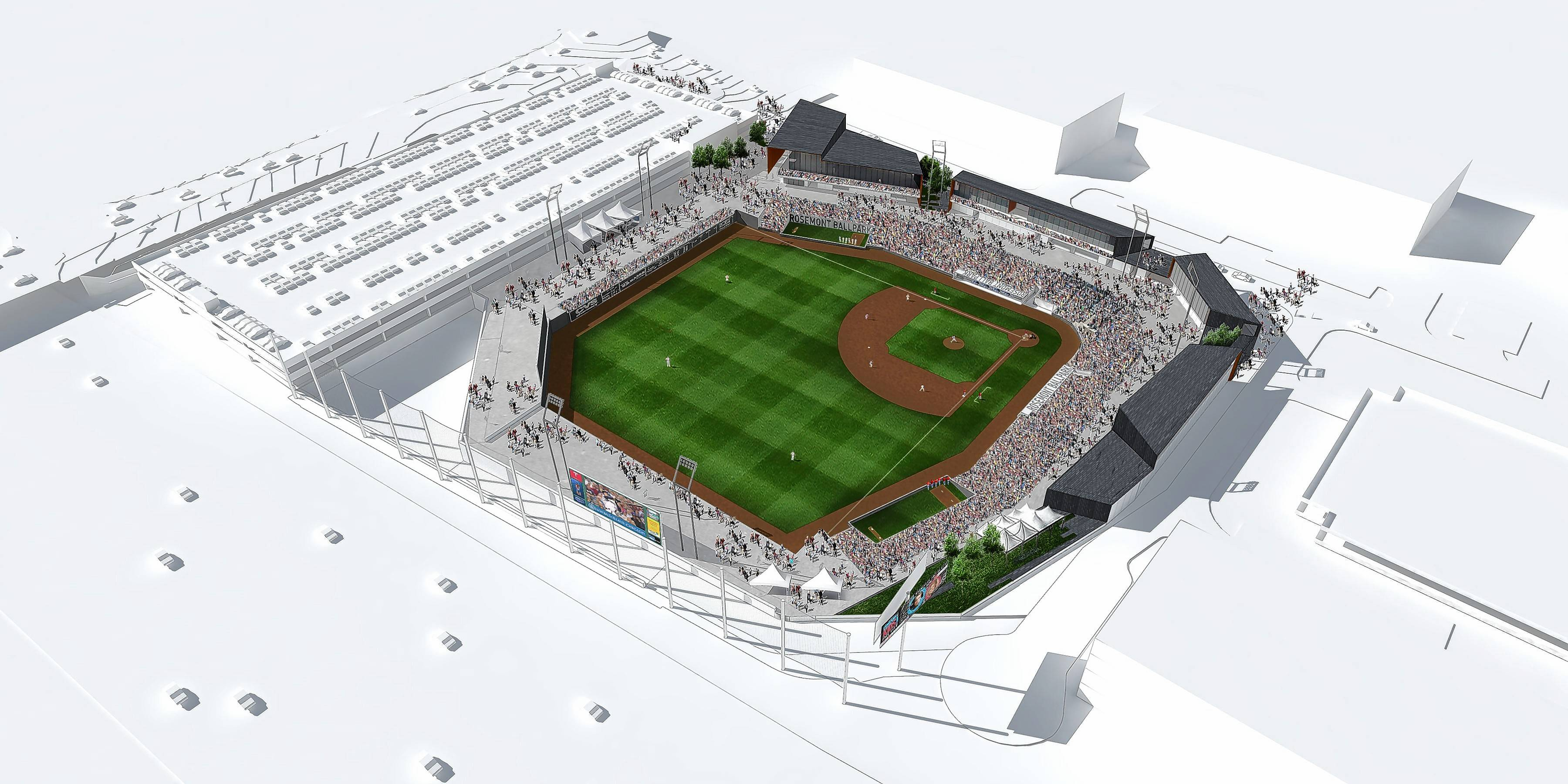 A rendering shows the layout of a proposed $56 million, 6,300-seat minor league baseball stadium adjacent to the Tri-State Tollway and Balmoral Avenue in Rosemont.