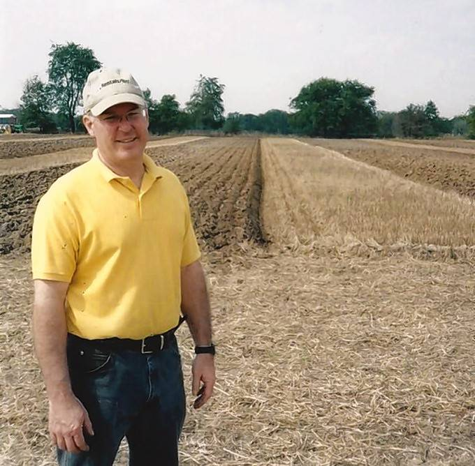 Jerry Thomas, son of June Thomas, is pictured in front of his furrows. He has won the Big Rock Plowing Match five times in various categories.