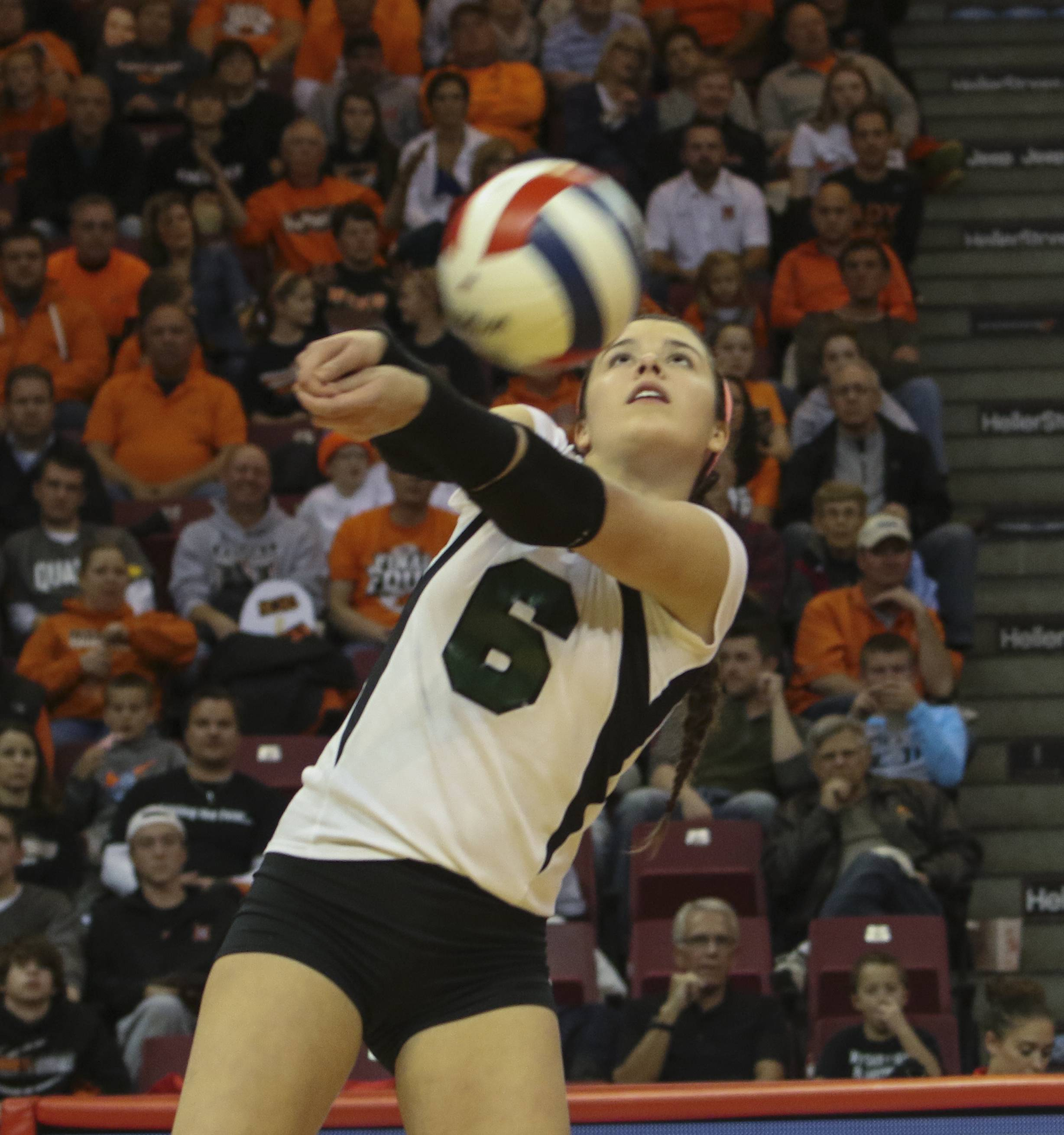 Hannah Brodner of Glenbard West returns a shot to Normal during Class 4A girls volleyball semifinal on Friday in Normal.
