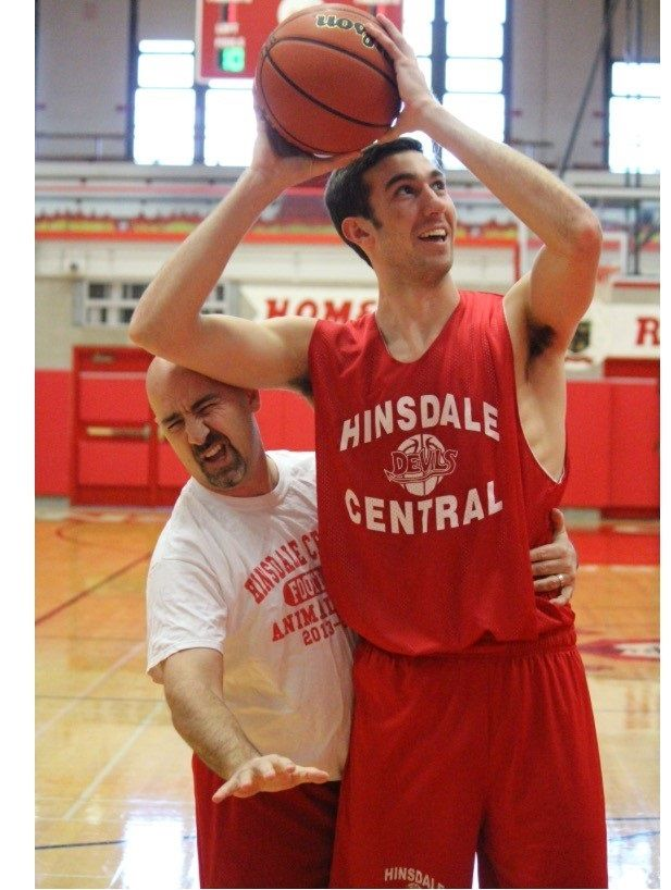 Athletic director Dan Jones participates in a Hinsdale Central basketball practice.