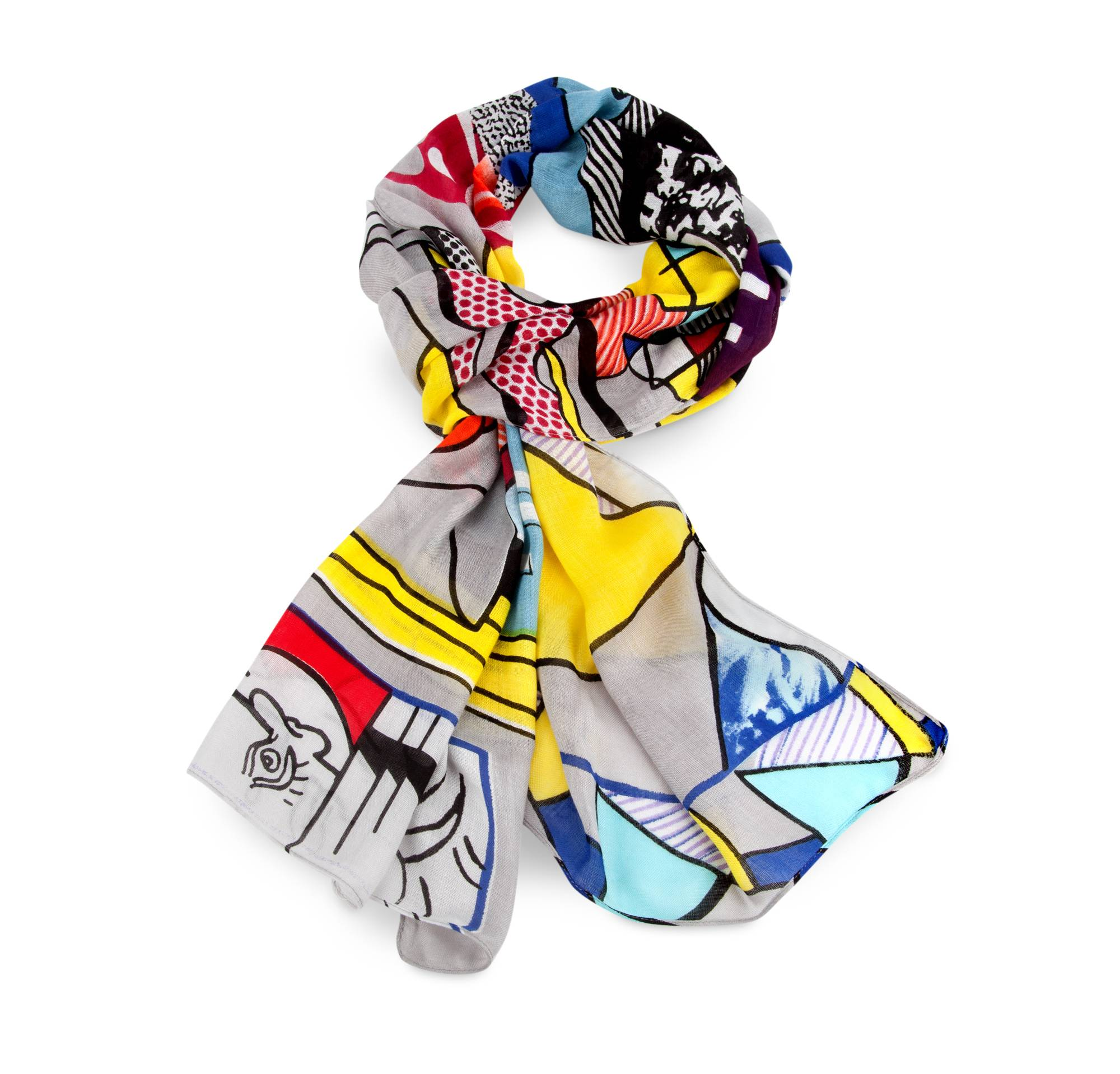 "This scarf was inspired by Roy Lichtenstein's ""Greene Street Mural"" painting. MoMA has"