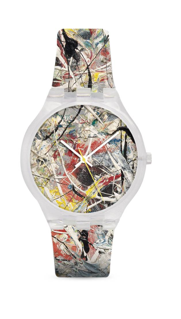"Jackson Pollock's ""White Light"" inspired this watch available in the Museum of Modern Art's gift shop. MoMA has licensing arrangements to reproduce elements from artwork for personal and home accessories. Profits support MoMA's programming and exhibitions. (MoMA via AP)"