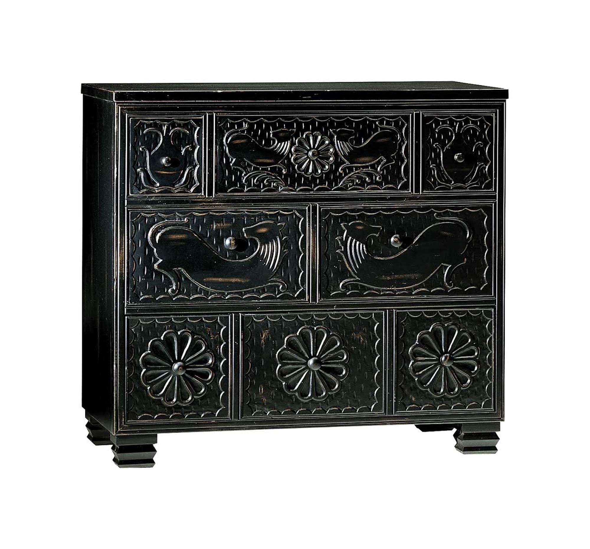 Hickory Chair's solid maple chest features hand carved pomegranate, rosette and lion motifs, symbols in use since Byzantine times. It was adapted using a ceremonial chest at the Museum of New Mexico as inspiration.