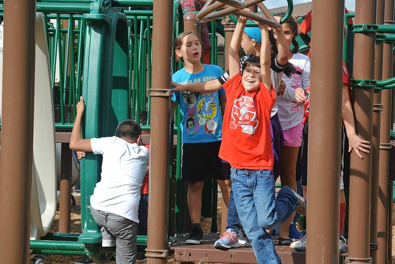 River Trail School fourth- and fifth-grade students enjoy their new playground.
