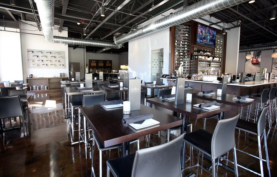 The dining room at Barrington Neoteca Pizza & Wine Bar is decidedly modern.