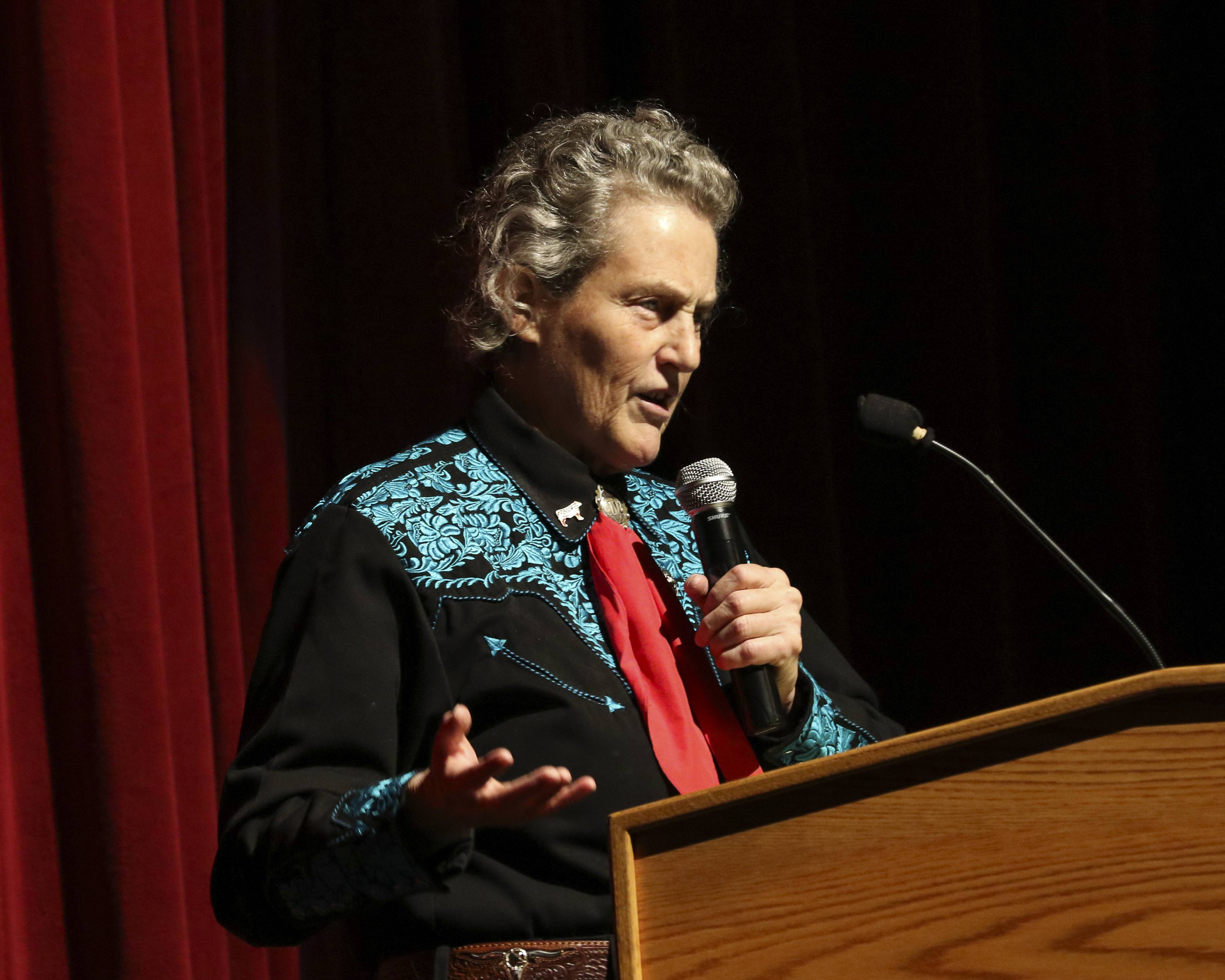 """Don't get hung up on the labels -- just don't,"" Temple Grandin told her audience at Glenbard East High School as part of the Glenbard Parent Series."