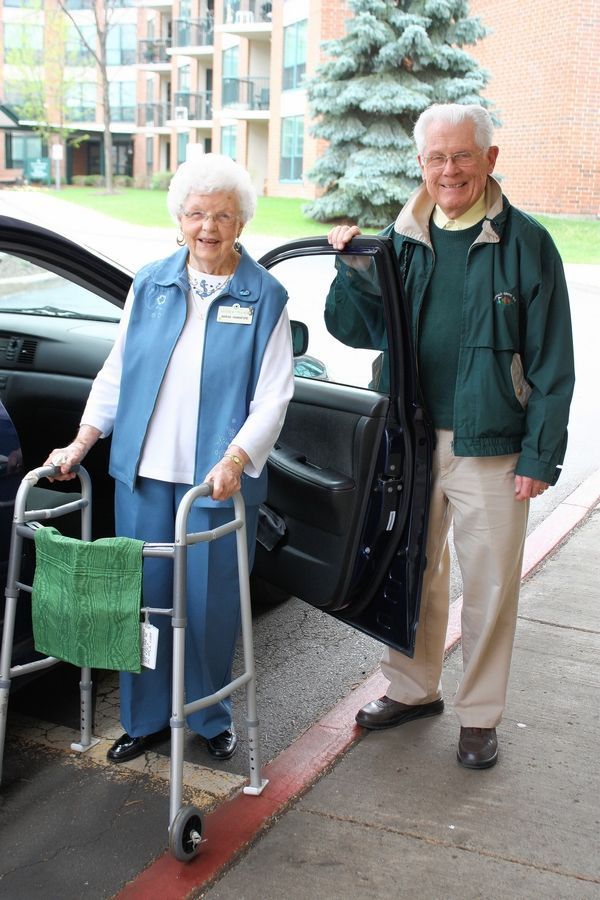 Driver Joe Ruane provides Marian Hannaford Escorted Transportation's 20,000th ride in 2015 at Luther Village in Arlington Heights.