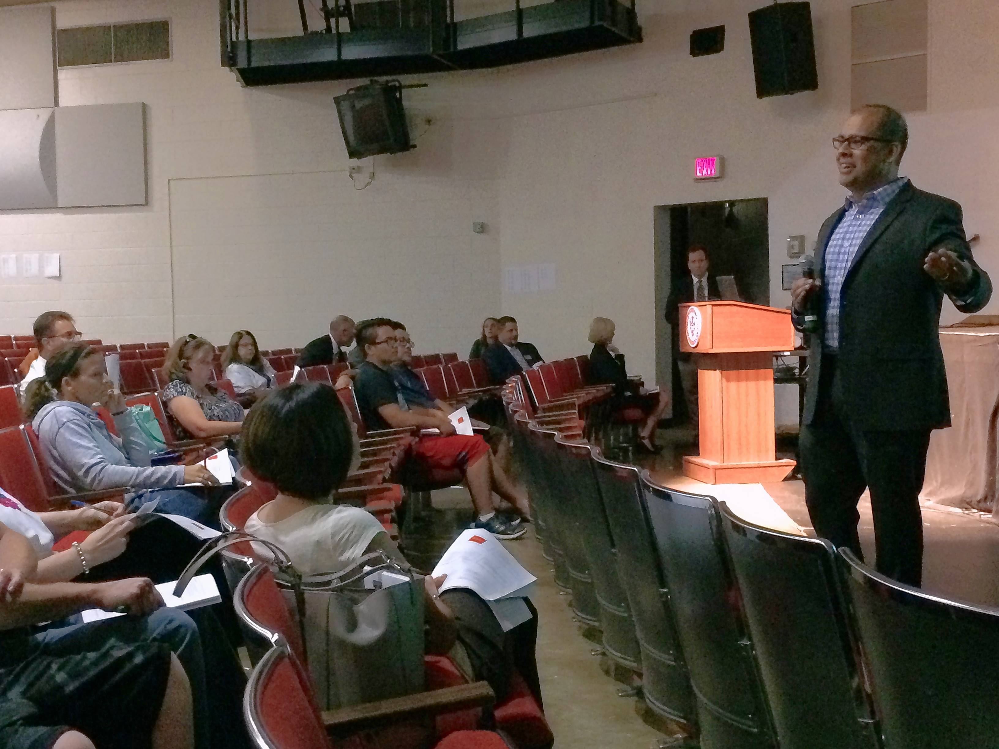 Mundelein High School teacher and coach Rahul Sethra talks to parents about the block schedule during a recent forum. The school board could decide Wednesday whether to keep or ditch the schedule.