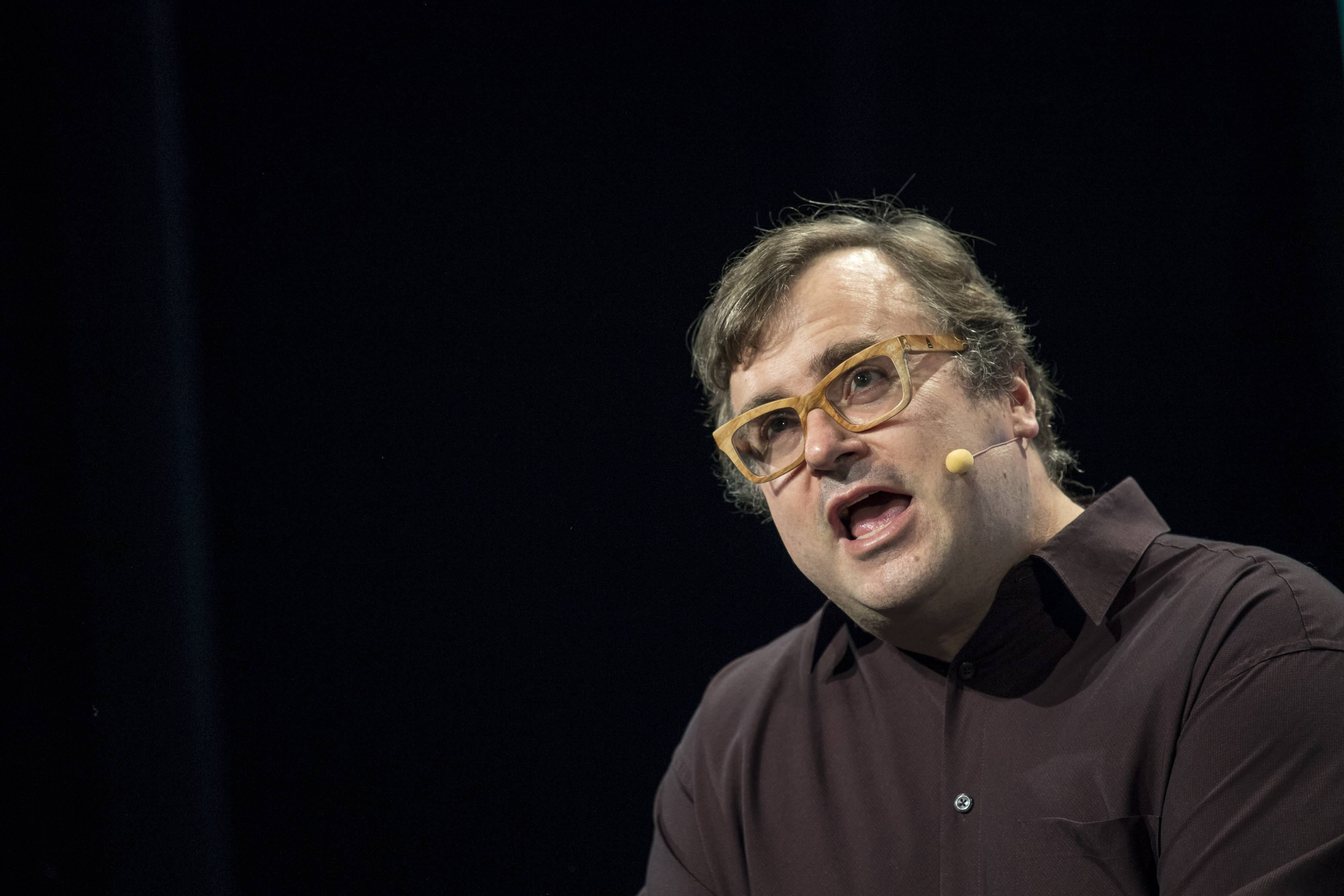 Reid Hoffman, chairman and co-founder of LinkedIn Corp., speaks during a Bloomberg Television interview at the TechCrunch Disrupt San Francisco 2016 Summit in San Francisco on Tuesday. MUST CREDIT: Bloomberg photo by David Paul Morris.