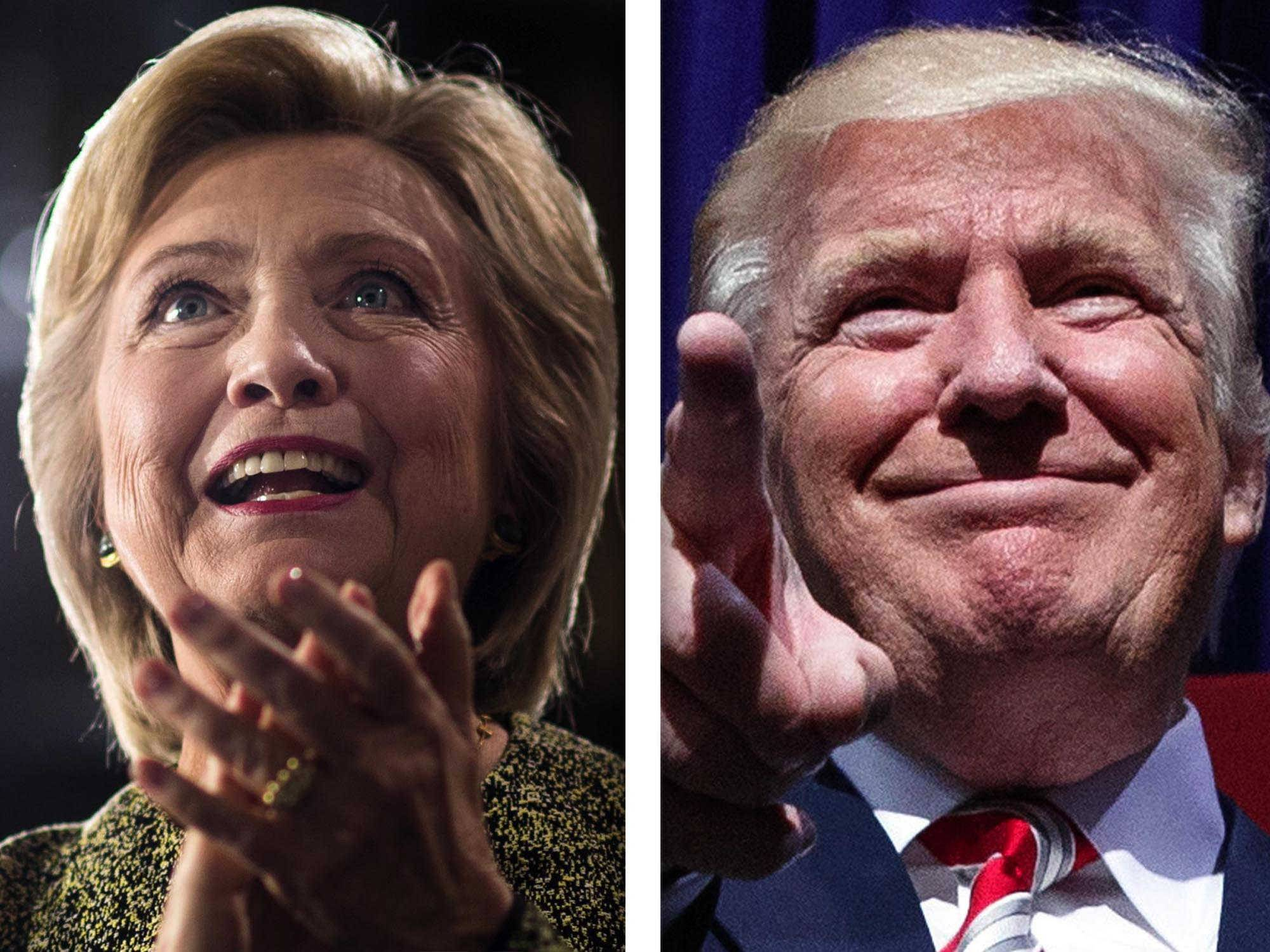 Hillary Clinton, left, and Donald Trump, right, are candidates for President of the United States. They'll debate each other Monday night for the first time.