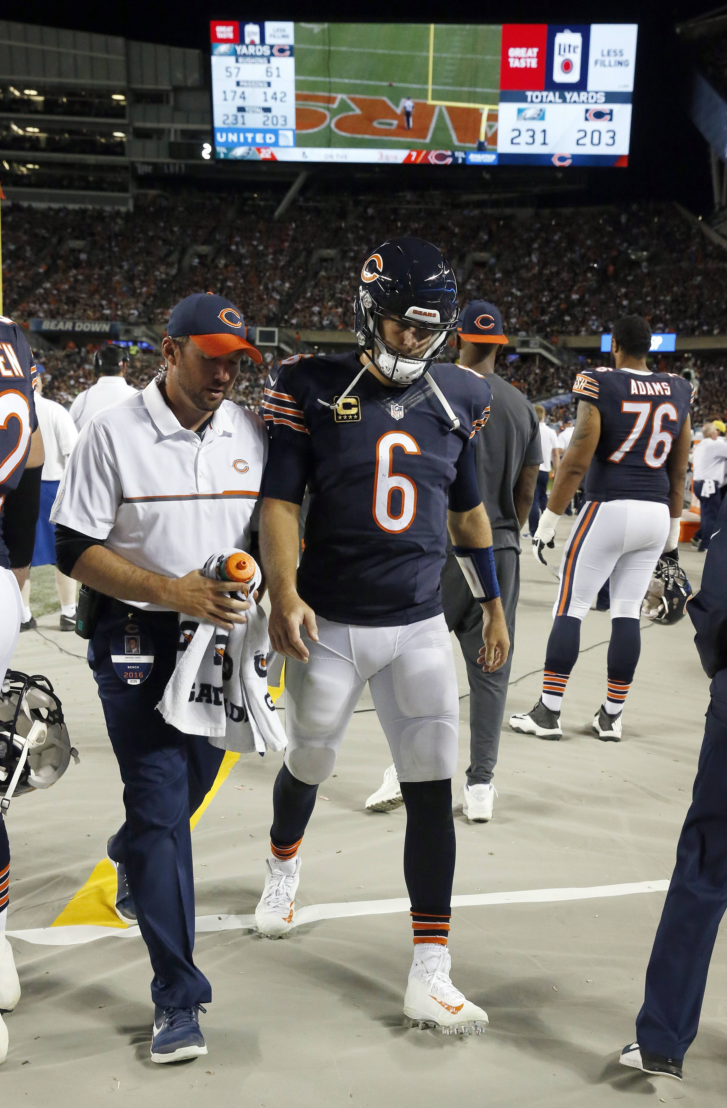 Quarterback Jay Cutler was just one of many Chicago Bears who were inactive for Sunday night's game against the Cowboys.