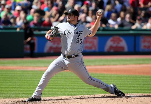 Chicago White Sox pitcher Carlos Rodon delivers to the plate during the third inning of a baseball game, Sunday, Sep, 25 2016, in Cleveland. (AP Photo/Aaron Josefczyk)