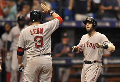 Boston Red Sox's Sandy Leon (3) waits at the plate to celebrate with Dustin Pedroia, right, after scoring on Pedroia's grand slam off Tampa Bay Rays reliever Danny Farquhar during the seventh inning of a baseball game Saturday, Sept. 24, 2016, in St. Petersburg, Fla. (AP Photo/Steve Nesius)