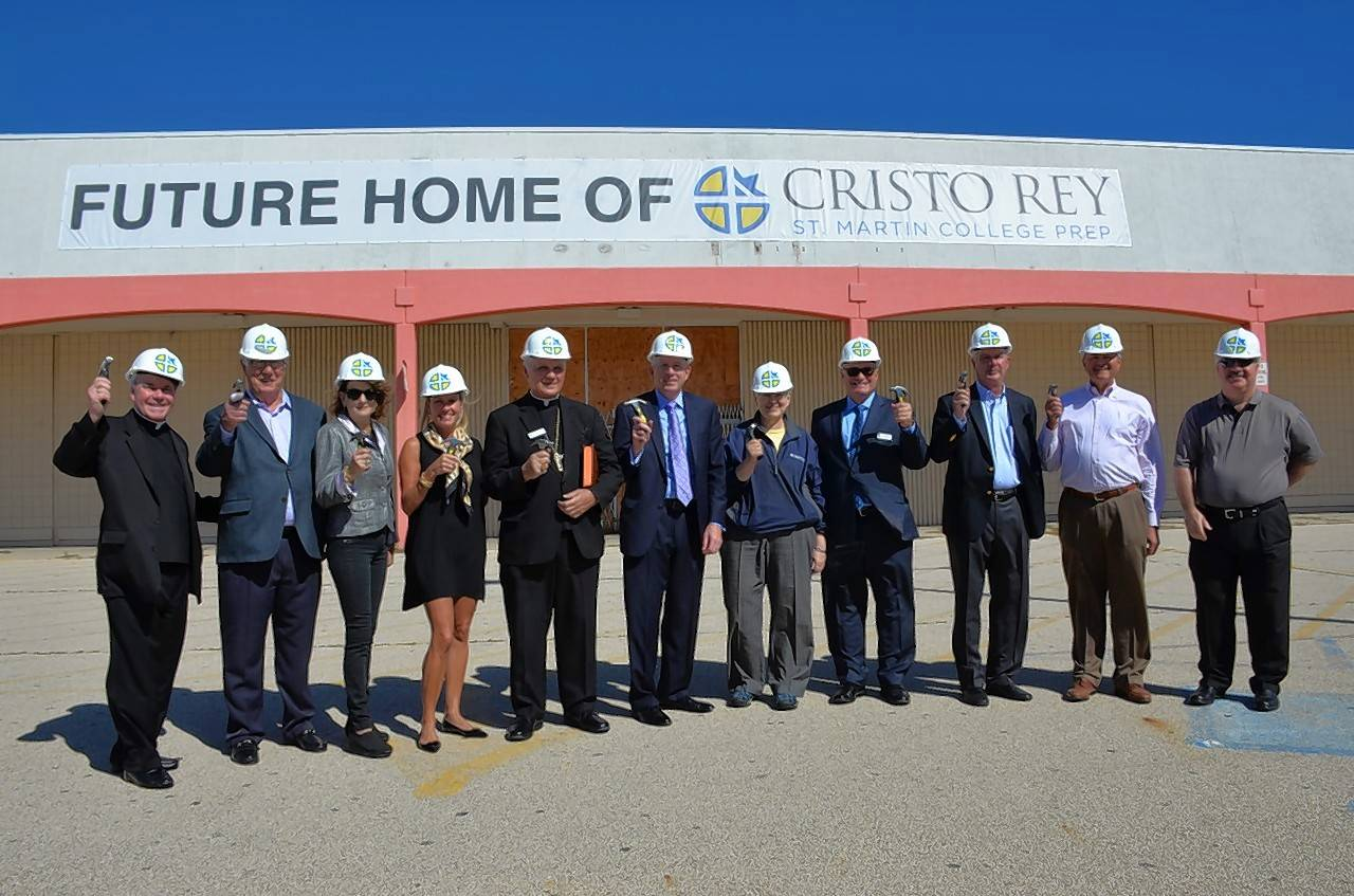 Community and school leaders and supporters gathered in the parking lot of a former Kmart in Waukegan recently to visit the future home of Cristo Rey St. Martin College Prep.