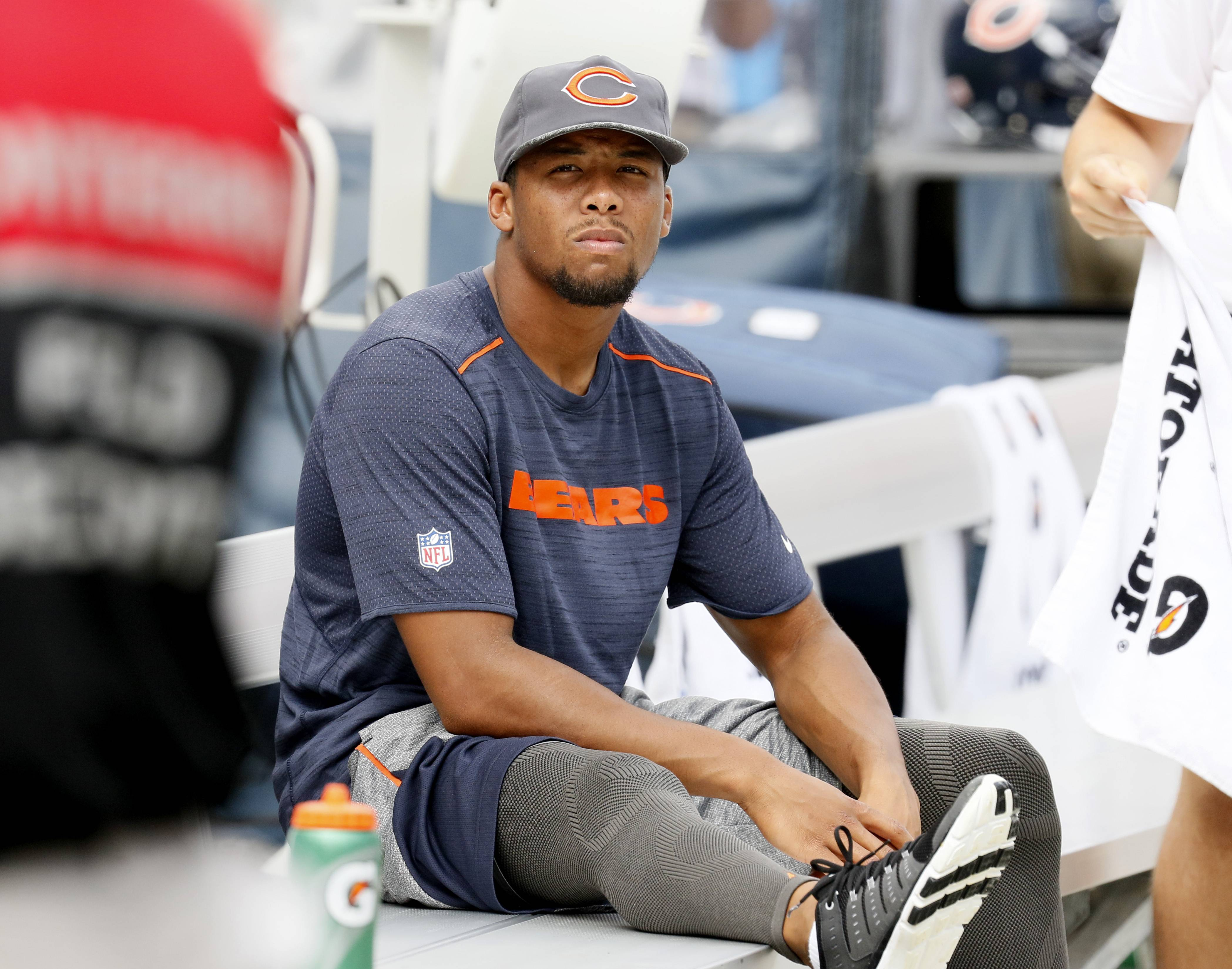 Daniel White/dwhite@dailyherald.com Chicago Bears Kyle Fuller sits on the bench against the Kansas City Chiefs during a preseason game, Saturday, August 27, 2016 at Soldier Field.