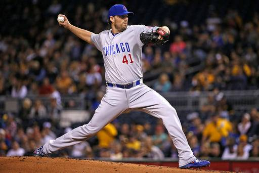 Chicago Cubs starting pitcher John Lackey delivers in the first period a baseball game against the Pittsburgh Pirates in Pittsburgh, Tuesday, Sept. 27, 2016. (AP Photo/Gene J. Puskar)
