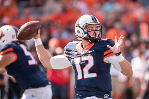 FILE - In this Sept. 17, 2016 file photo, Illinois quarterback Wes Lunt (12) throws a pass during a NCAA college football game against Western Michigan in Champaign, Ill. Lunt and the Illini take on No. 15 Nebraska on Saturday in Lincoln, Neb. (AP Photo/Bradley Leeb, File)