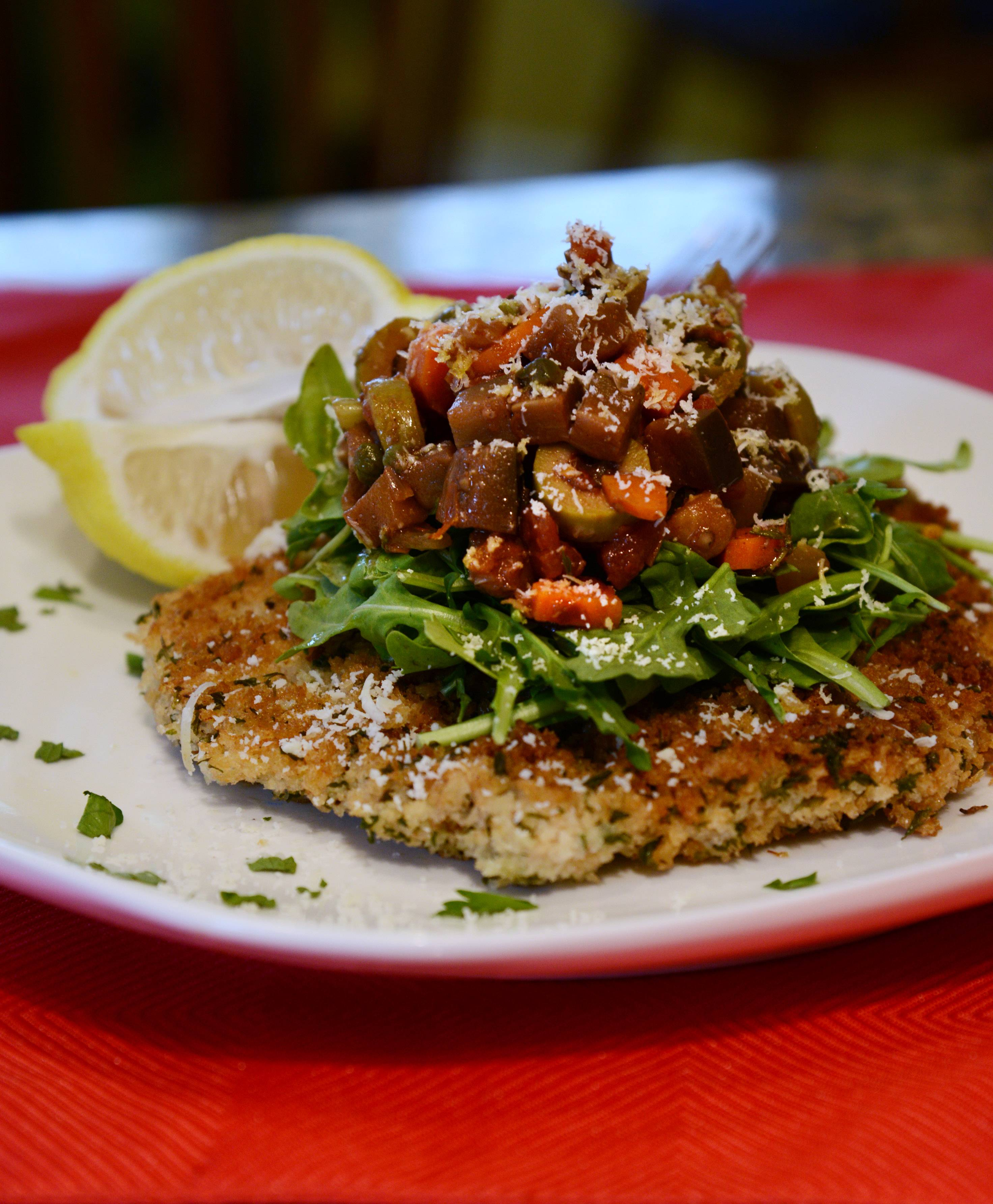 Teresa Fiocchi of Mundelein and her dish for the first challenge in the Cook of the Week Challenge. Fiocchi made turkey Milanese topped with eggplant cocoa caponata with capers.