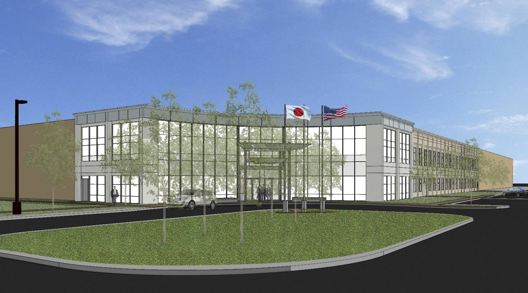 A rendering of the new Echo headquarters in Lake Zurich, above. Construction crews work on the expansion, at left. The major expansion at the campus comes about six years after the company opened a new 129,000-square-foot warehouse at the company, a subsidiary of Yamabiko Corp. of Japan. That expansion was necessary to accommodate a merger with Shindaiwa, which was based in the Portland area.