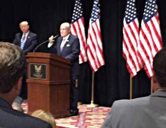 COURTESY OF TIM SCHNEIDERFormer New York Mayor Rudy Giuliani introduces Republican presidential nominee Donald Trump during an event Wednesday at Bolingbrook Golf Club.