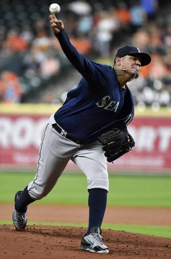 Seattle Mariners starting pitcher Felix Hernandez delivers in the first inning of a baseball game against the Houston Astros, Tuesday, Sept. 27, 2016, in Houston. (AP Photo/Eric Christian Smith)
