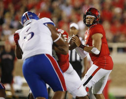 Texas Tech's Patrick Mahomes (5) looks to pass during an NCAA college football game against Texas Tech, Thursday, Sept. 29, 2016, in Lubbock, Texas. (Brad Tollefson/Lubbock Avalanche-Journal via AP)