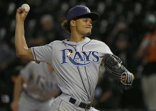 Tampa Bay Rays starter Chris Archer throws against the Chicago White Sox during the first inning of a baseball game Thursday, Sept. 29, 2016, in Chicago. (AP Photo/Nam Y. Huh)