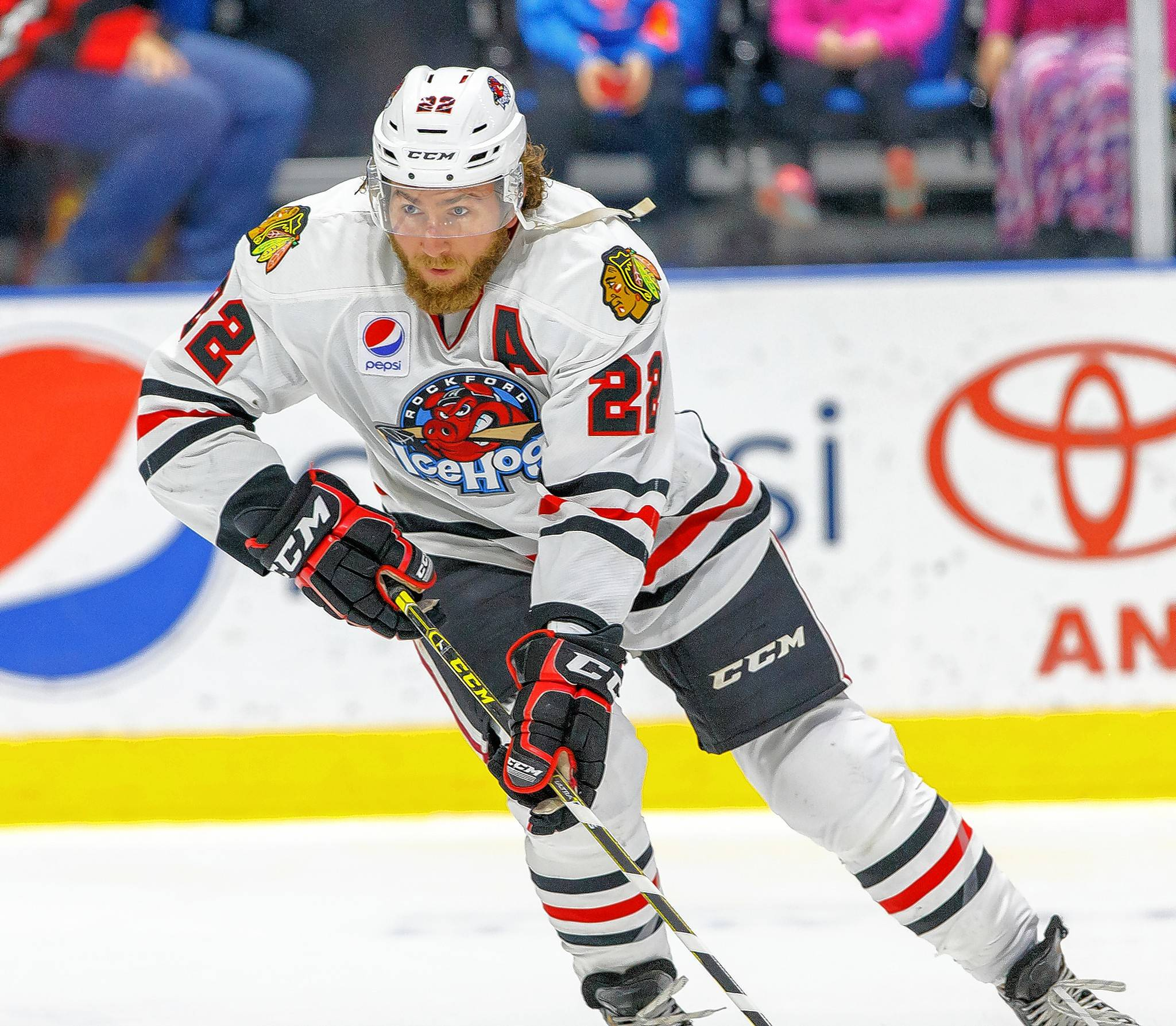 Pierre-Cedric Labrie of the Rockford IceHogs has logged a lot of time in the minors. The 30-year-old winger is in camp with the Blackhawks.