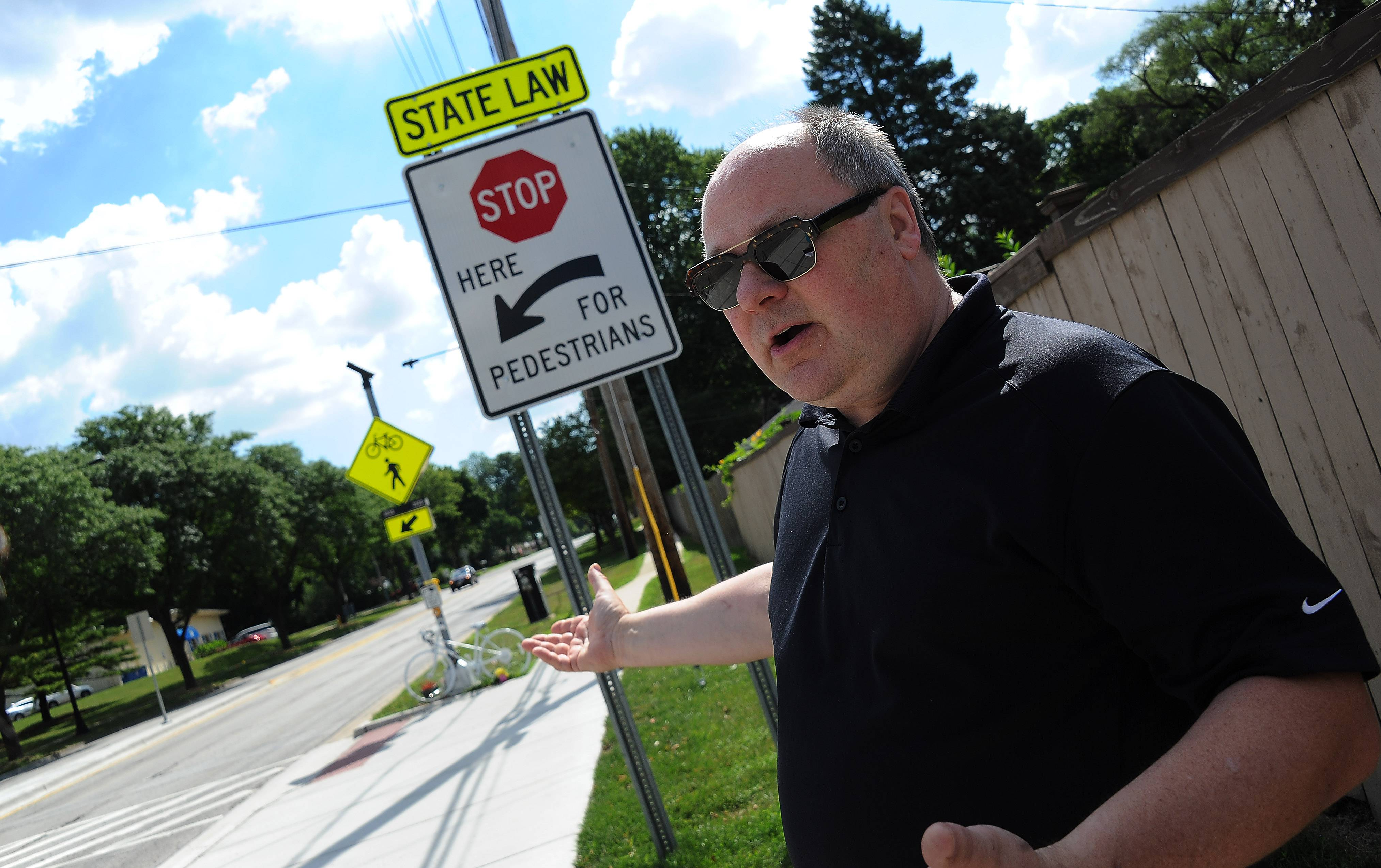 Eric Jakubowski of Mount Prospect has said the crosswalk on Central Road across from Melas Park is confusing and gives a false sense of security after a driver killed his wife there in June.