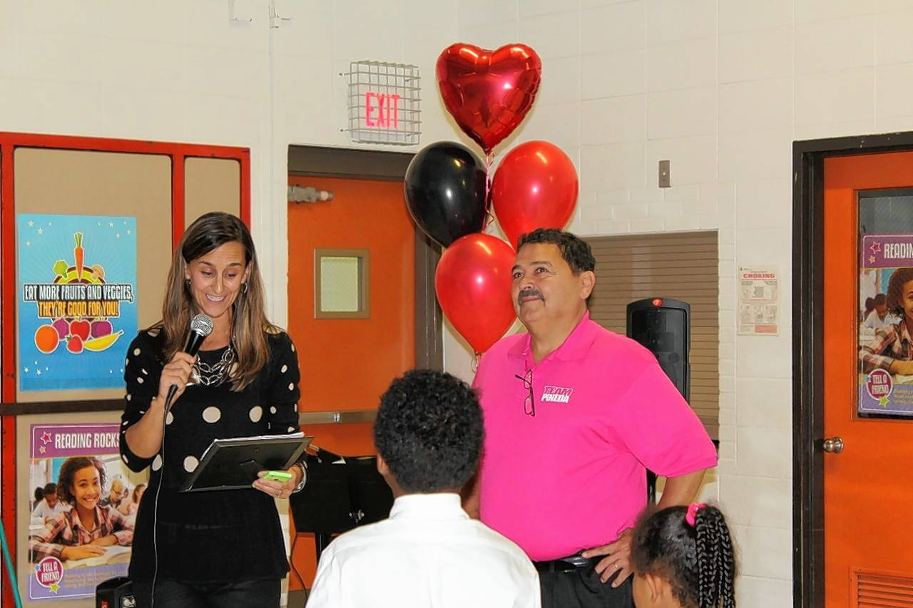 Healthy West Chicago Director Andi Cooper and West Chicago Mayor Ruben Pineda celebrate World Heart Day  on Thursday.