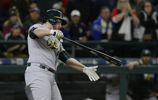 Oakland Athletics' Max Muncy reacts after he struck out swinging to end the team's baseball game against the Seattle Mariners, Thursday, Sept. 29, 2016, in Seattle. The Mariners won 3-2. (AP Photo/Ted S. Warren)