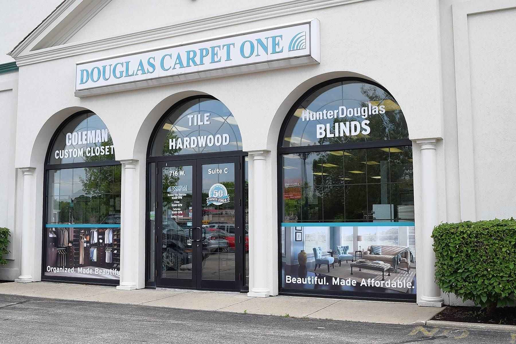 Douglas Carpet One Flooring and Home has added premium blinds and closet makeover products to its showrooms in North Aurora and Geneva.