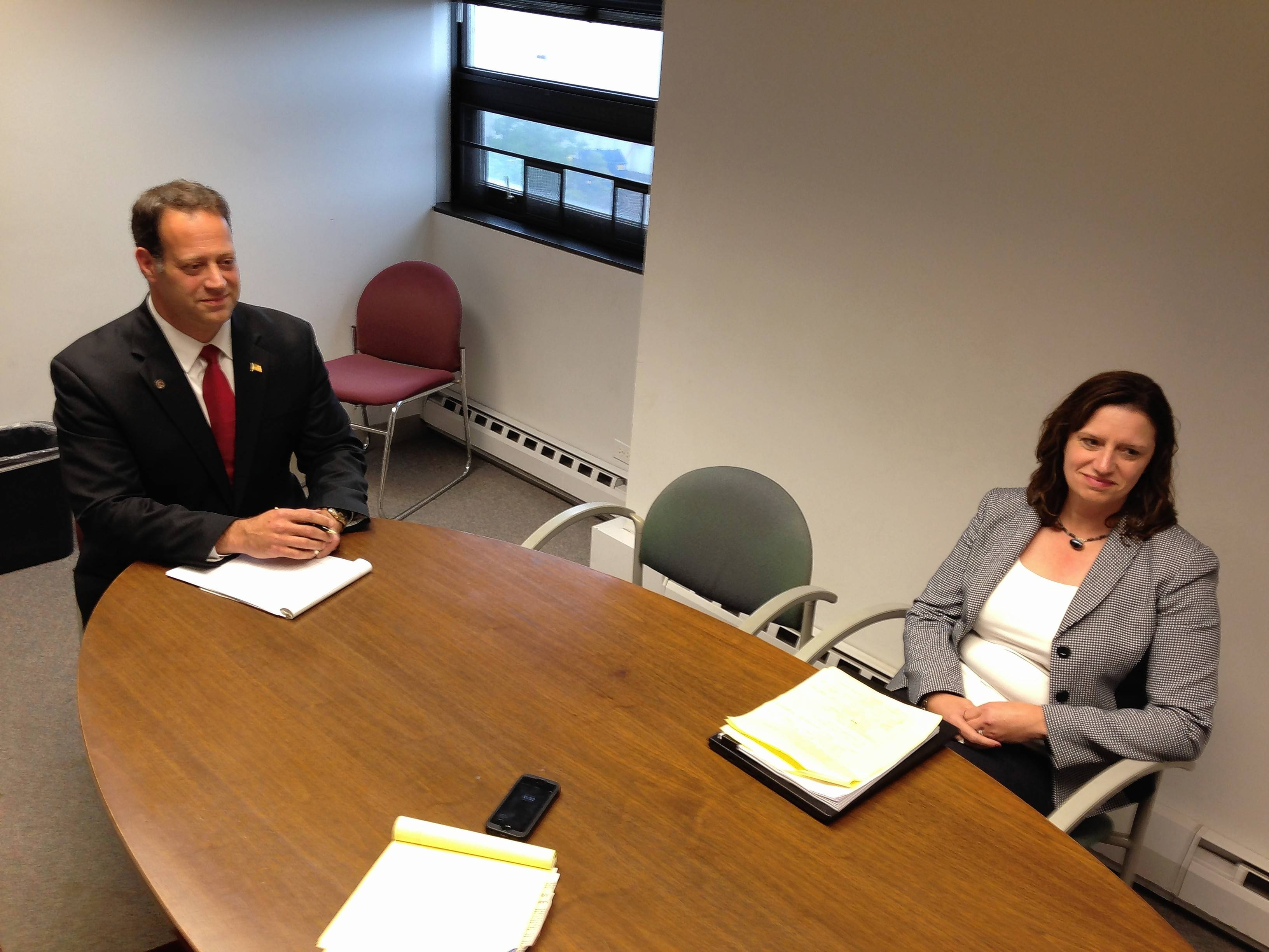 Incumbent Republican Keith Brin, left, and Democrat Erin Cartwright Weinstein are candidates for Lake County circuit court clerk. They discussed issues at a Daily Herald editorial board joint interview this week.