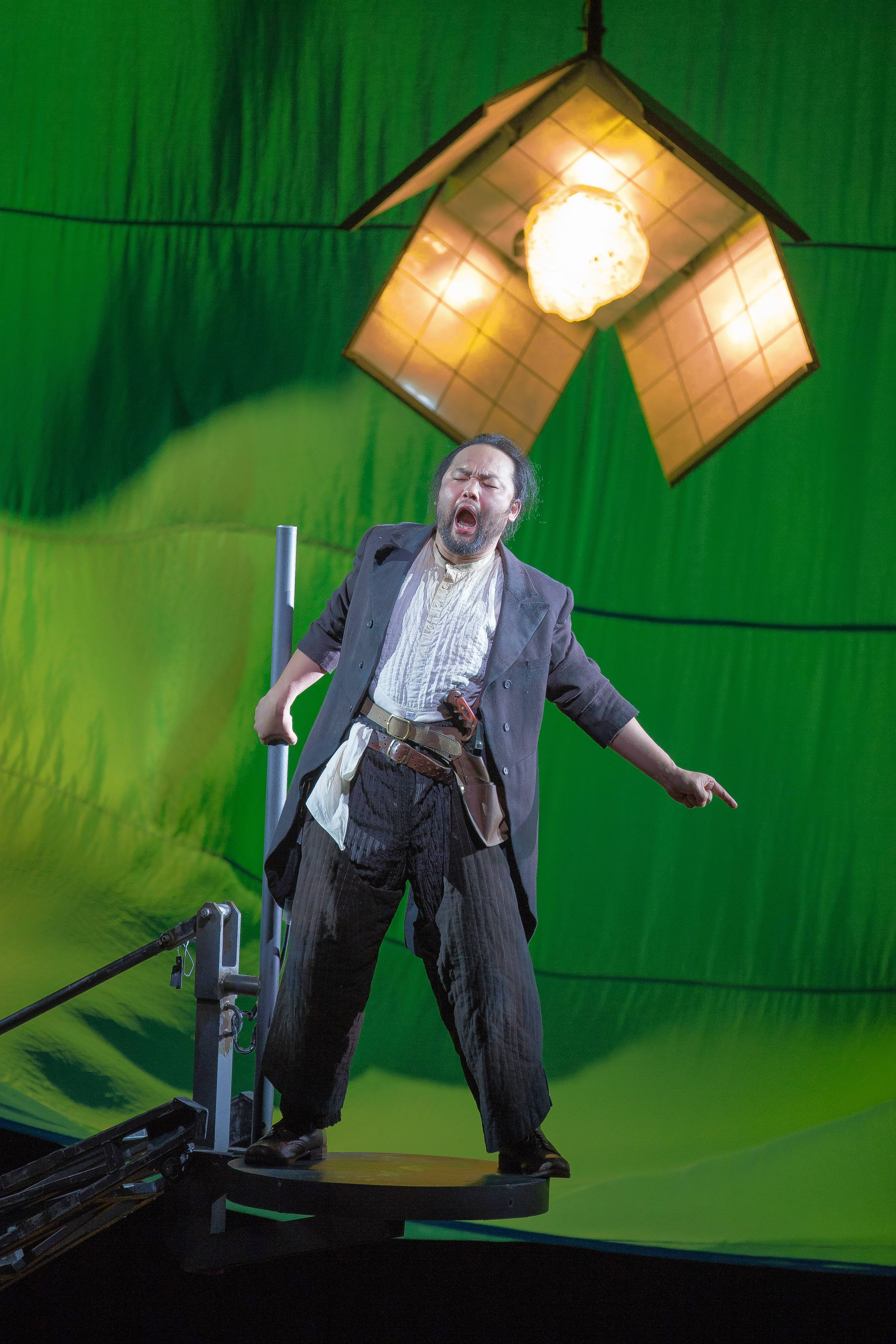 "The dwarf Alberich (South Korean bass-baritone Samuel Youn) renounces love in order to steal the Rhinemaidens' all-powerful gold in the Lyric Opera of Chicago's new production of Richard Wagner's ""Das Rheingold."""