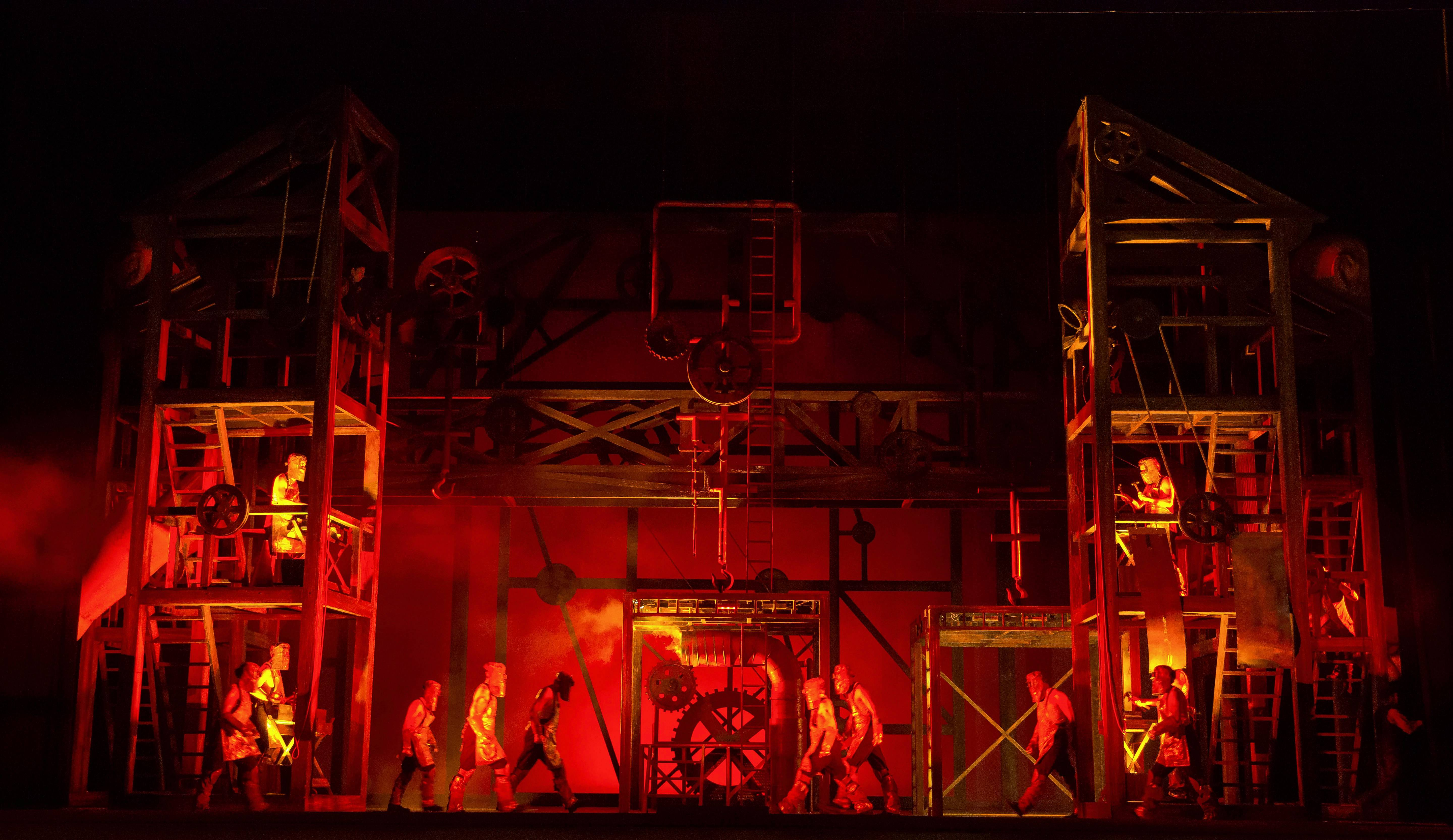 "The enslaved Nibelung dwarfs are forced to mine and manufacture gold underground in director David Pountney's new production of Richard Wagner's ""Das Rheingold"" for the Lyric Opera of Chicago."