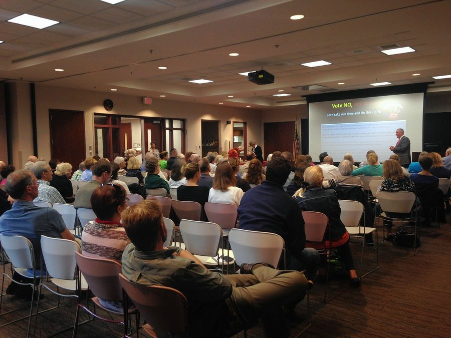 About 85 District 15 parents and community members attended a forum Tuesday on the district's proposal to borrow $130 million. The forum, hosted by the League of Women Voters of the Palatine area, was held at the Palatine Public Library.