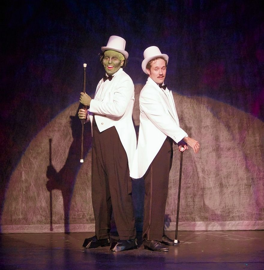 "Frederick Frankenstein (Patrick Tierney), right, and his Creature (T.C. Fair) perform a soft shoe in Metropolis Performing Arts Centre's ""The New Mel Brooks Musical Young Frankenstein."""