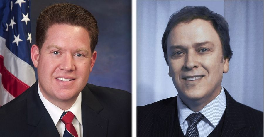Michael Nerheim, left, and Matt Stanton, right, are candidates for Lake County state's attorney in the 2016 election.