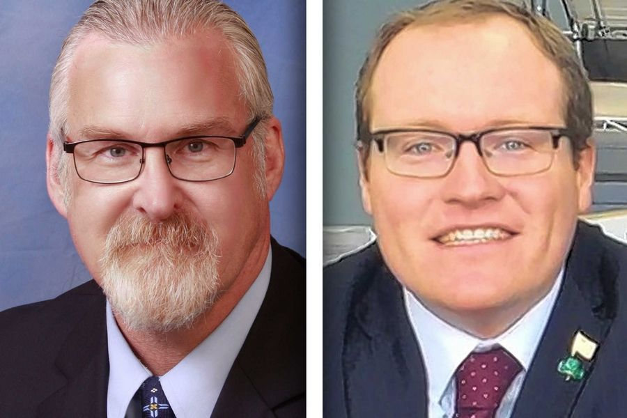 Democrat Ray Flavin, left, and Republican Patrick Kenneally are candidates for McHenry County state's attorney.