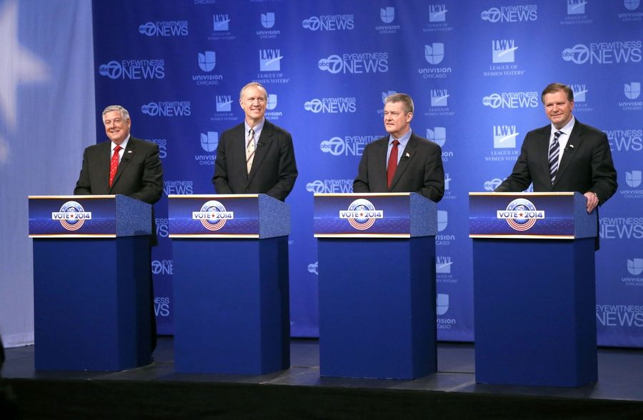 Republican gubernatorial candidates from left, state Sen. Kirk Dillard, Bruce Rauner, Treasurer Dan Rutherford and Sen. Bill Brady prepare for a televised debate Feb. 27, 2014, in Chicago.
