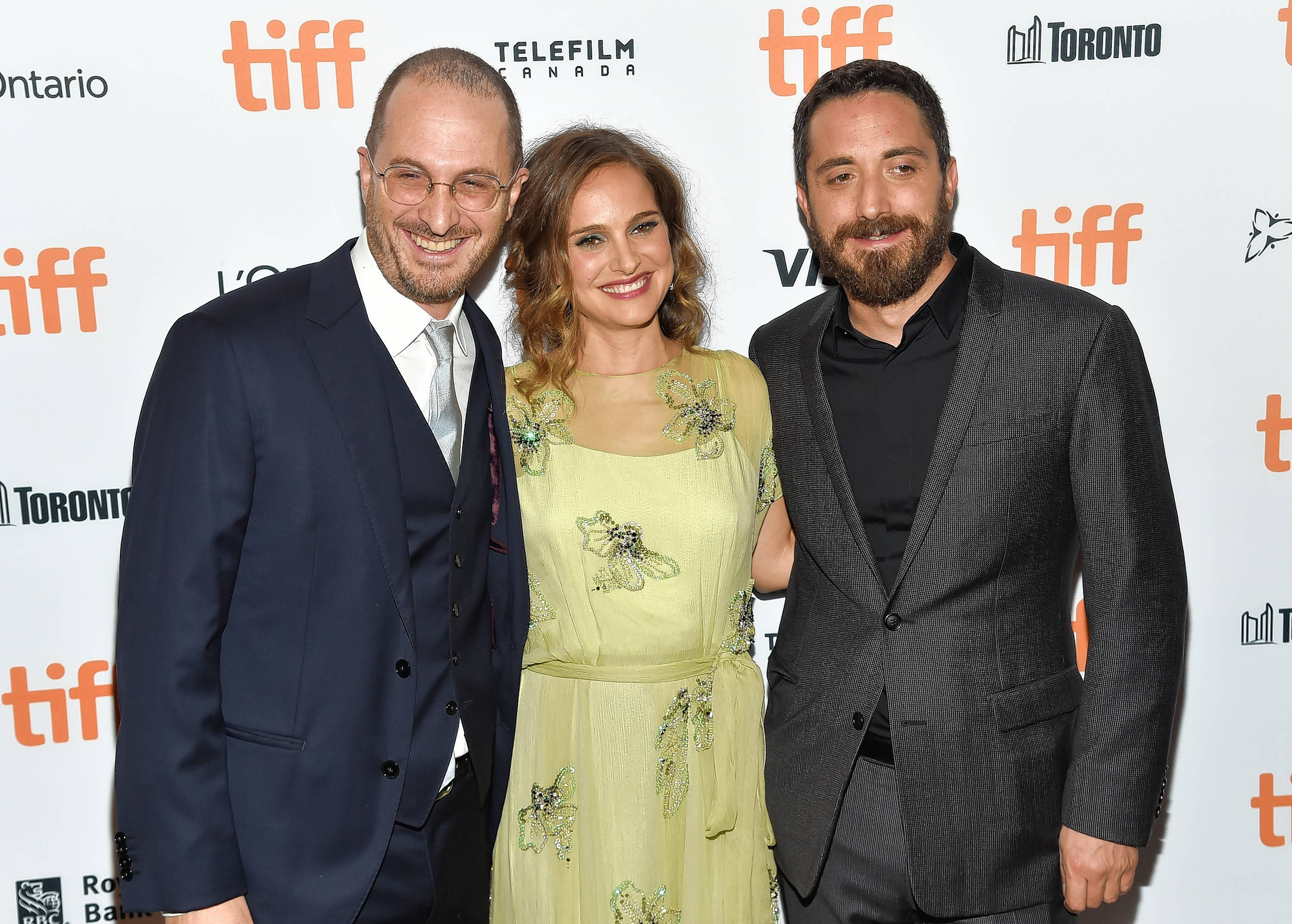 "Producer Darren Aronofsky, left, actress Natalie Portman and director Pablo Larrain attend the ""Jackie"" premiere on day 4 of the Toronto International Film Festival at the Winter Garden Theatre on Sunday, Sept. 11, in Toronto."