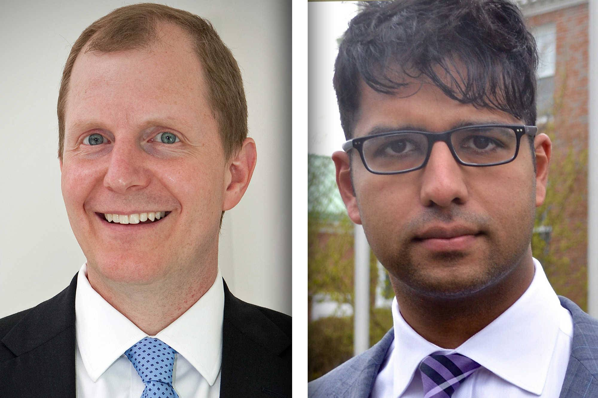 Republican Tim Elliott, left, and Democrat Khizar Jaffri are candidates for DuPage County Board 4 (4-year-seat).