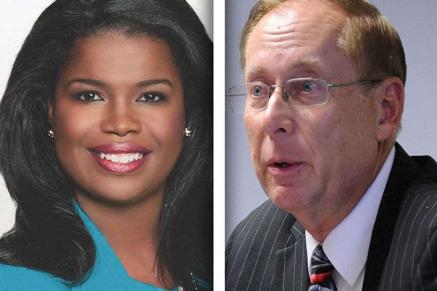 Democrat Kim Foxx, left, and Republican Christopher Pfannkuche are candidates for Cook County State's Attorney.