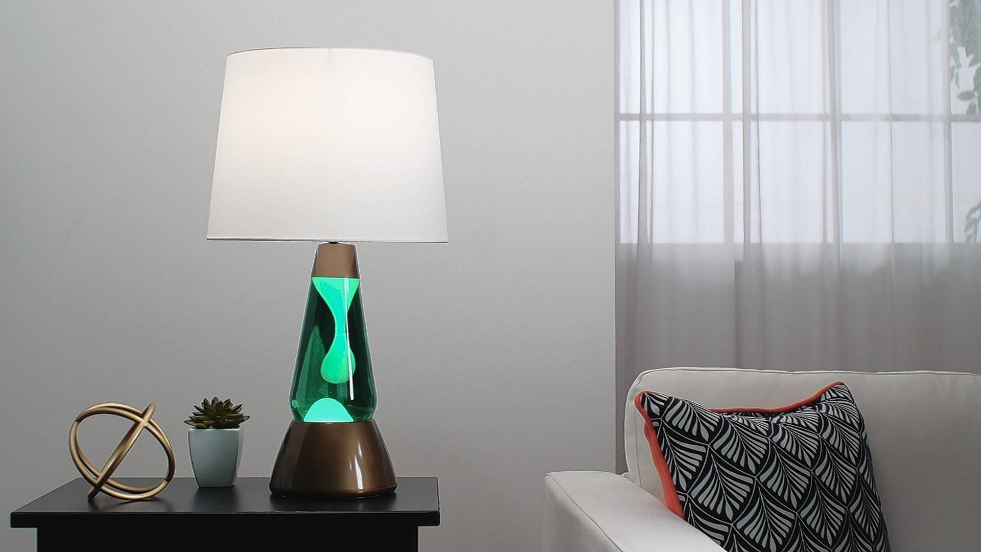 Bright Source lamps combine a conventional table lamp with a lava lamp.