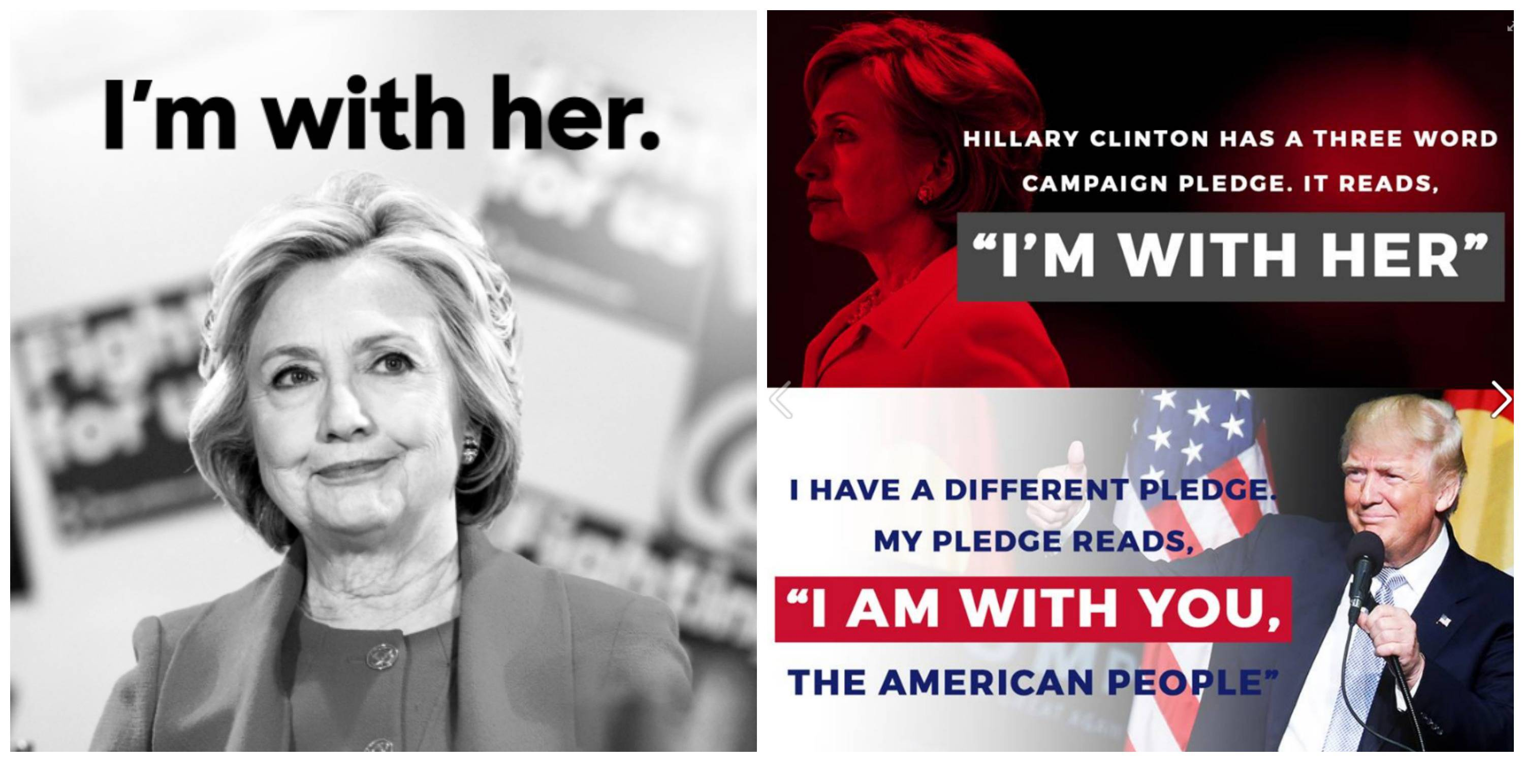 Images shared by the Clinton campaign (left) and the Trump campaign (right).