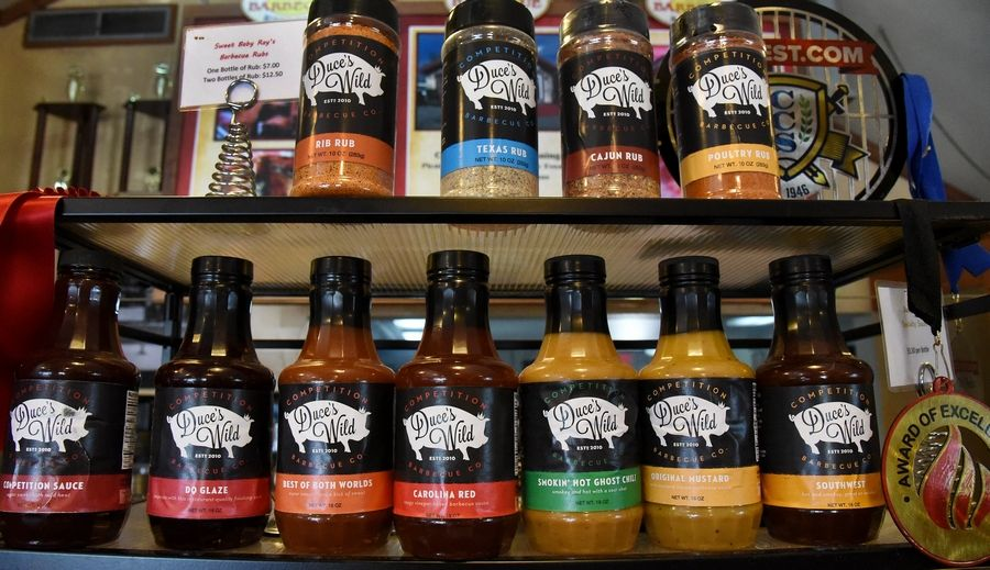 Dave Raymond of Wood Dale, and co-founder of Sweet Baby Ray's BBQ sauce, restaurants and catering business. This is Duce's line of BBQ sauces, named after Raymond's nephew.