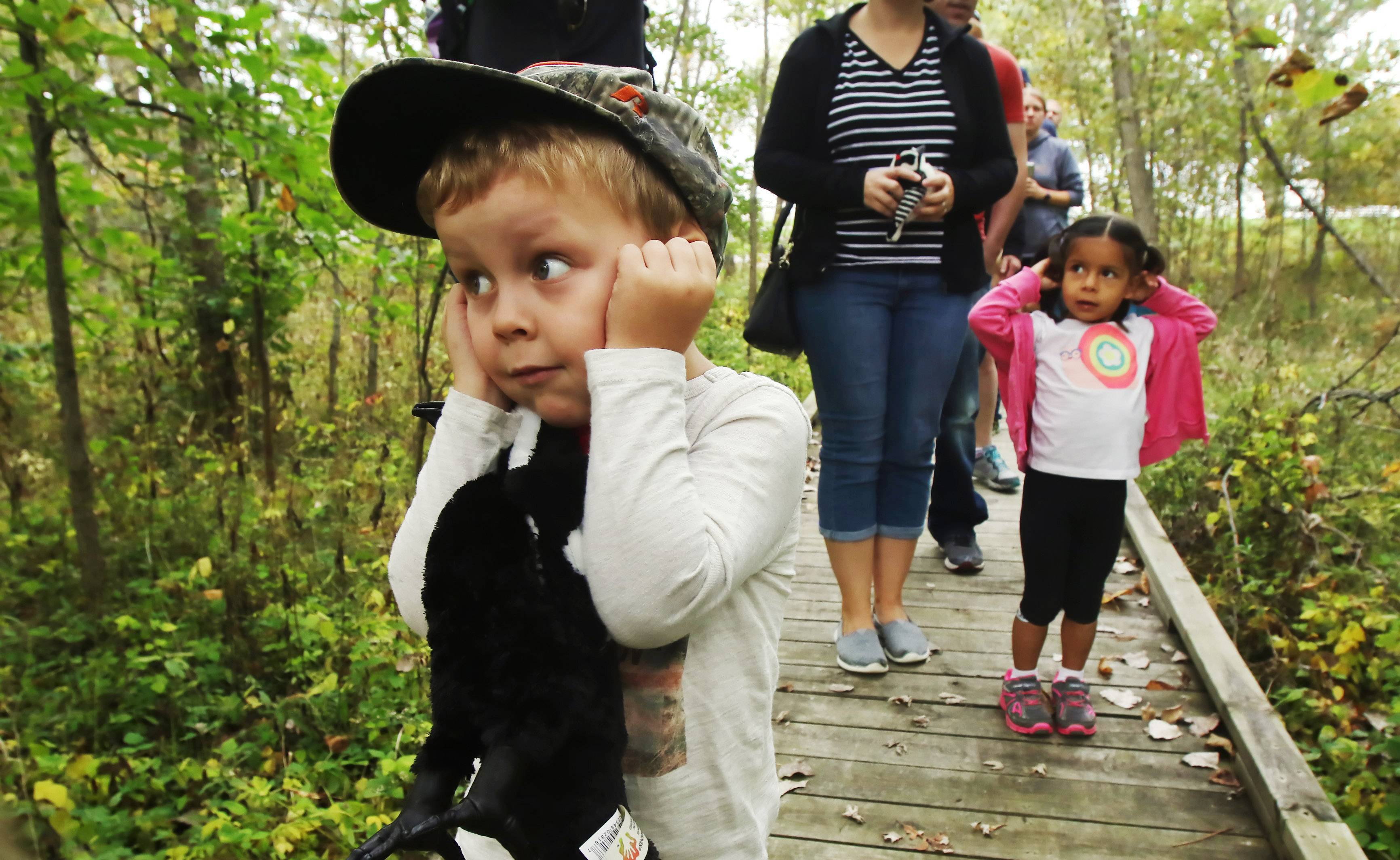 Benjamin Meek, 5, and Sofie Gallegos, 3, both of Lake Villa, bring their hands to their ears listening for bird calls during the Hikin' Tykes: Woodpeckers program at Edward L. Ryerson Conservation Area on Tuesday. Children, ages 2-5, learned about woodpeckers as they hiked in the woods and later worked on building birdhouses with parents and caregivers.
