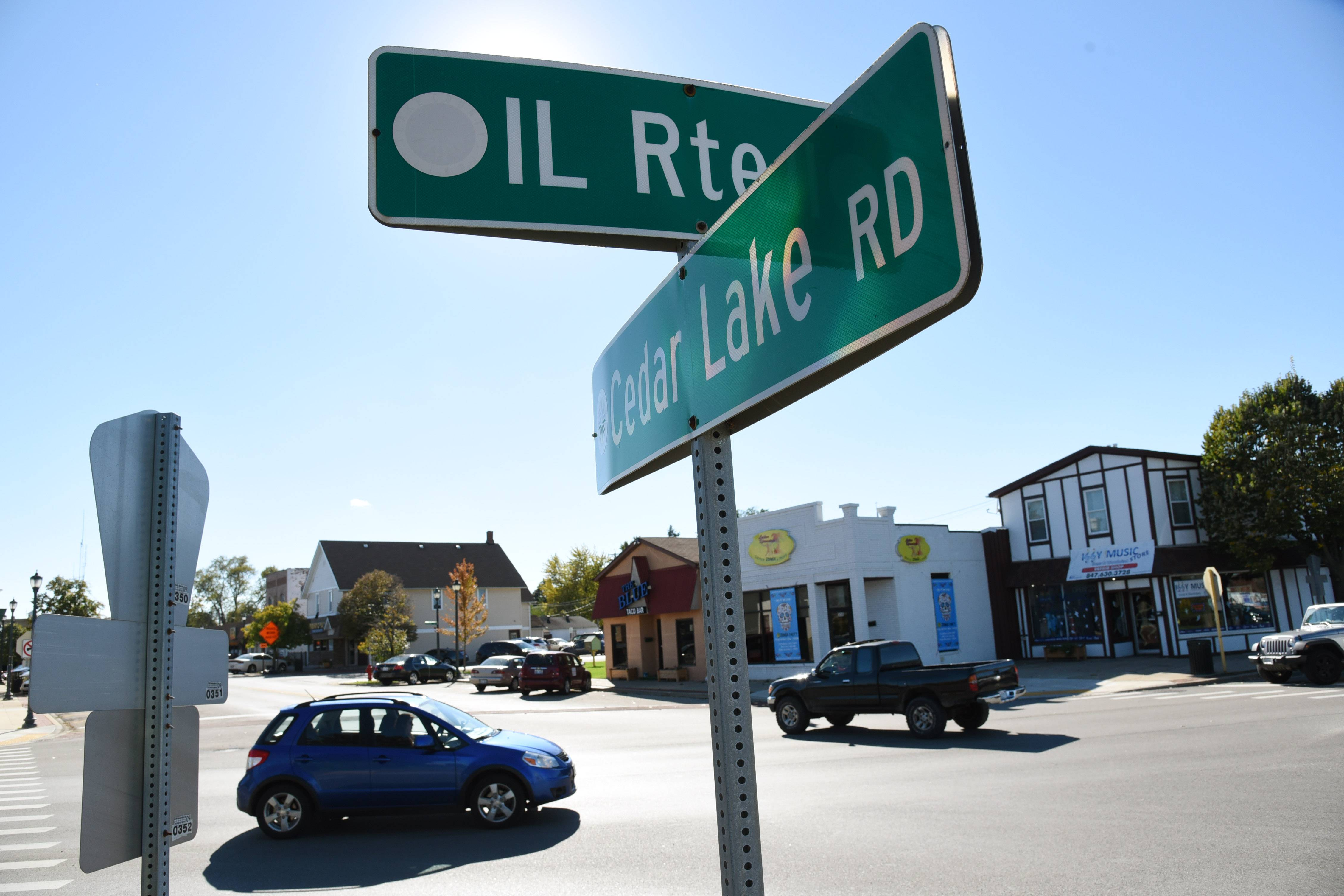 Traffic moves along at the Cedar Lake Road and Route 134 intersection in Round Lake. Plans are moving ahead for the eventual realignment of Cedar Lake Road through downtown.
