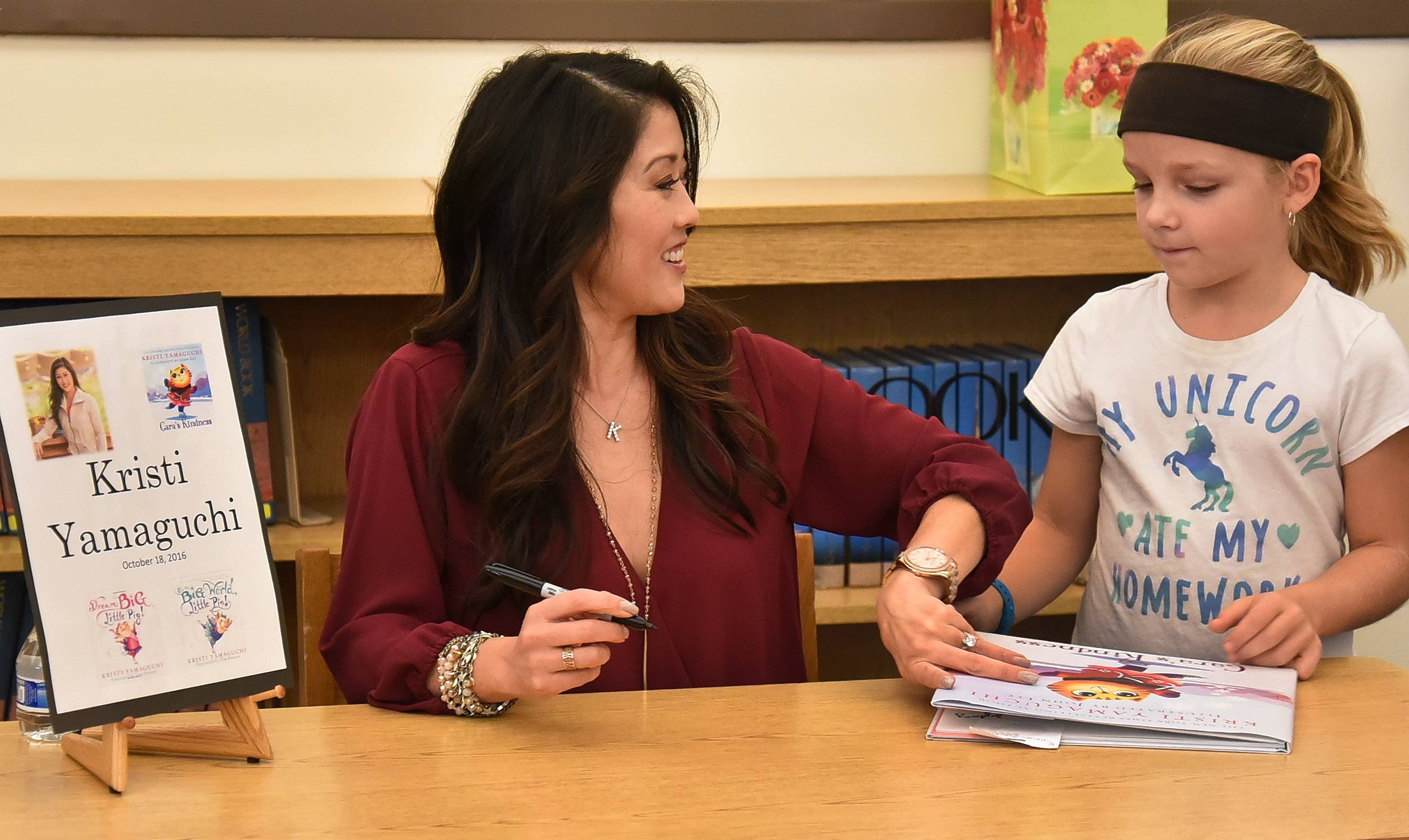 Kristi Yamaguchi met with students at Frank C. Whiteley School in Hoffman Estates on Tuesday.