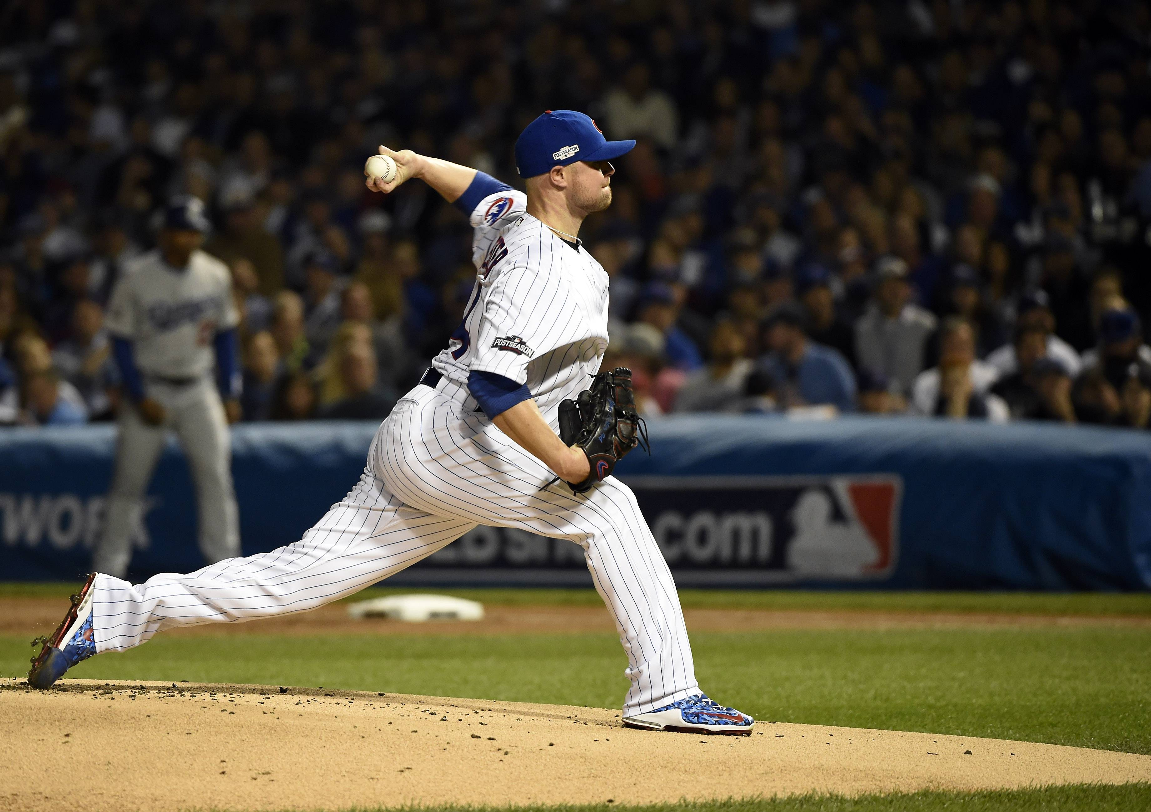 John Starks/jstarks@dailyherald.com Chicago Cubs starting pitcher Jon Lester (34) throws during the first inning during Game 1of baseball's National League championship series against the Los Angeles Dodgers, Oct, 15 2016, at Wrigley Field in Chicago.